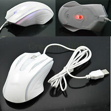 White Optical USB Wired HighSpeed Gaming Mice Mouse For Apple MAC Dell PC Laptop