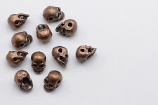50pcs Mini Skull Beads in Antique Copper, Halloween Skull #SD-S8039
