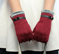 Womens Touch Screen Winter Warm Wrist Gloves Mittens Red Gift