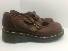 Dr Martens Brown Double Buckle Mary Janes Women's Size 8 39