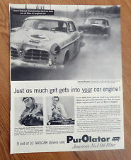 1955 Purolator Oil Filter Ad  Nascar Stock Car Auto Racing Theme