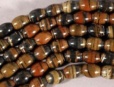 "BROWN BLACK & RED PETRIFIED TIGER WOOD JASPER 14X11MM BARREL BEADS 16""  STRAND"