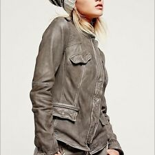 New Free People Grey Black Distressed Genuine Leather Rumpled Jacket Size 6 $420