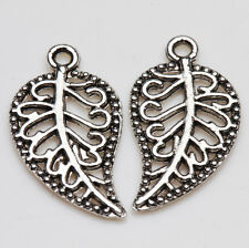 Vintage 25Pcs Tibet Silver Hollow Out Leaf Charm Pendant Beaded Jewelry Findings