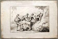"""LAZIO. """"Lavatrici di Tivoli"""". Dall'opera di Bartolomeo Pinelli, anno 1816"""