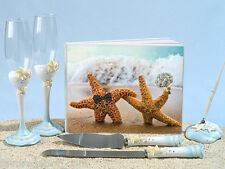 Perfect Pair Beach Wedding Set Guest Book Pen Toasting Flutes Cake Knife Server