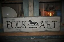 Primitive Folk Art Horse Distressed Wood Sign Rustic Folk Art Country Home Decor