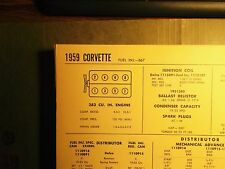1959 Chevrolet Corvette 283 V8 2x4 & Fuel Injection SUN Tune Up Chart Superb!