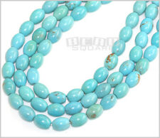 """15.5"""" Genuine Chinese Turquoise Round Oval Beads 8x10mm Blue Green #25061"""