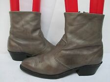 Double-H Gray Leather Cowboy Zip Ankle Boots Size 10 EE Style 1885 USA