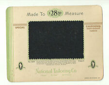 VTG Fabric Swatch Sample On Card 1933 National Tailoring Co. 9254 Wool N
