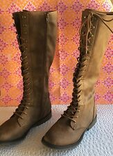 Women's Brown Tall Laceup Boots With Side Zipper Size 8.5 Low Heel