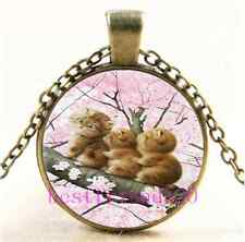 Vintage Three Cat In Tree Cabochon Glass Bronze Chain Pendant Necklace