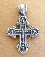 Antique Russian CROSS, Sterling Silver, Jesus Christ and Mother Of God, ICON