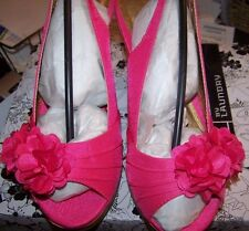 WOMENS CORK HEEL DRESSY HOT PINK SANDAL HEELS WITH FLOWER NEW  SIZE 6 BY CL
