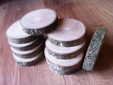 10x Real Rustic wood Log Slices Tree Ash piece Table Round Chic 9-12x2Cm