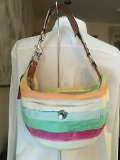 Authentic Coach Hampton Watercolor Striped Hobo Purse 10021 Leather Trim