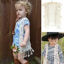 Kids Baby Girl Sleeveless Crochet Lace Hollow Cardigan Top Vest Tassel Waistcoat
