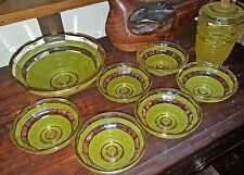 Set of 8 Fruit bowl & 6 Dishes +1 Antique Vintage Art Deco yellow Pressed Glass