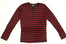 CARBON Men's Long Sleeve Striped 1/4 Button T-Shirt Maroon/Grey Small H162