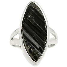 Black Tourmaline Rough 925 Sterling Silver Ring Jewelry s.6 BTRR103