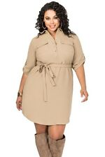 Plus Size Clothing 5X Khaki Button Up Belted Shirt Dress SEXY Women's Sz 18 20
