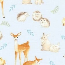 Robert Kaufman Fawns and Friends AWU 16671 4 Blue Animals Cotton Fabric BTY