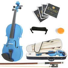 Mendini Size 4/4 Solidwood Violin Metallic Blue+ShoulderRest+ExtraStrings+Case