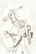 Gambit and Rogue Pencil Commission - 2006 Signed art by Juan Ferreyra