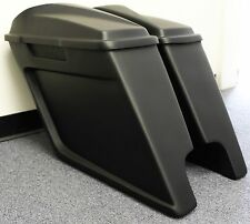 """6"""" SCALLOP STRETCHED EXTENDED SADDLEBAGS SCALLOP 6.5 SPEAKERS LIDS HARLEY 95-13"""