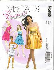 Strapless Straps Gathered Bubble Skirt Prom Cocktail Dress Gown Pattern 4 6 8 10