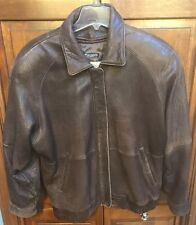 Georgetown Leather Design Brown Leather Bomber Jacket Women's M Vintage