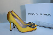 "New sz 7.5 / 38 Manolo Blahnik Yellow Hangisi Brooch Toe Jewel 4"" Heel Pump Shoe"