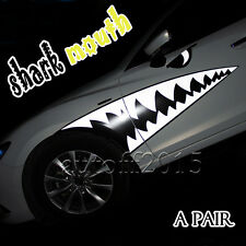 NEW 2x Waterproof Reflective Shark Tooth Teeth Graphics Decal for Car Sticker