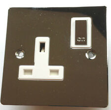 CHROME SINGLE WALL PLUG SOCKET SILVER METAL 240v SWITCH 3 PIN UK ELECTRIC POWER