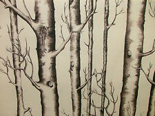 5m Silver Birch Tree Digital Printed Colour Designer Cotton Upholstery Fabric