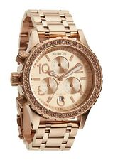 New Nixon 38-20 Chronograph Rose Gold-Tone Steel Quartz Women's Watch A404897