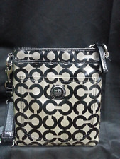 COACH Black Grey Signature Jacquard Leather Vinyl Shoulder Bag Crossbody Purse