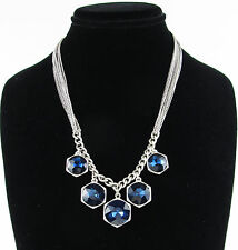 KENNETH COLE New York 'Midnight Sky' Blue Bead Drop Charm Silver-Tone Necklace