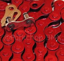 """KMC Z410 BMX fixie single speed bicycle chain 1/2"""" X 1/8"""" 112L RED METALLIC"""