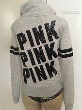 HTF Victoria's Secret PINK Marled Gray Hooded Full Zip Jacket Sequins Bling XS