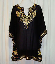 GORGEOUS ANISE BLACK W'GOLD EMBROIDERED PONCHO TOP/TUNIC TOP/COVER UP size 12