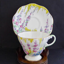 Vtg EB Foley Shelley Tea Cup Saucer 2499 Scalloped Pink Tall Flowers England