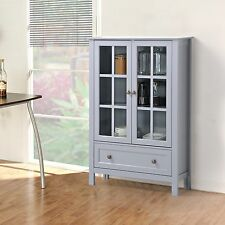 Gray 2 Glass Door Storage Display Curio Cabinet Home Living Room Furniture Den