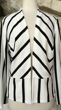 NWT Chico's Black White Stripe Poly Rayon Spandex Open Jacket Chicos 3 = 16 18