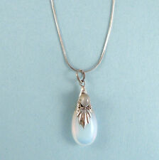 Bali Teardrop Moonstone Pendant Necklace STERLING SILVER 925 Chain NEW USA Sellr