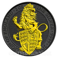 Lion of England-Queen's Beast 2oz silver coin Ruthenium plated  24 K Gilded 2016