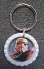 STAR WARS STORMTROOPER White Flat Bottle Cap Bling KEY CHAIN RING Charm Gift