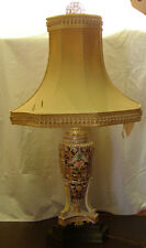 ANTIQUE CAPODIMONTE LAMP - PUTTI  CHERUBS GARDEN - ROSE & YELLOW  ITALY SIGNED