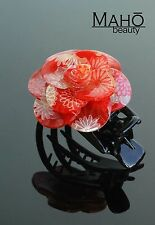 JAPANESE fashion KANZASHI HAIR CLAW CLIP REAL KIMONO ACRYLIC CAMELLIA TSUBAKI